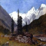 Albert Bierstadt (1830-1902)  Rocky Mountain  Oil on canvas  25 1/4 x 36 1/8 inches (64.45 x 91.76 cm)  Public collection
